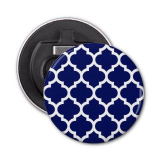 濃紺の白いモロッコのクローバーパターン#5 栓抜き