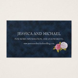 濃紺の白いヴィンテージの花の結婚式のウェブサイト 名刺