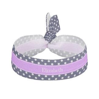 濃紺の白い水玉模様の薄紫の名前のモノグラム ヘアゴム