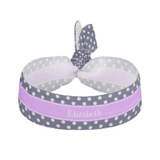 濃紺の白い水玉模様の薄紫の名前のモノグラム ヘアタイ