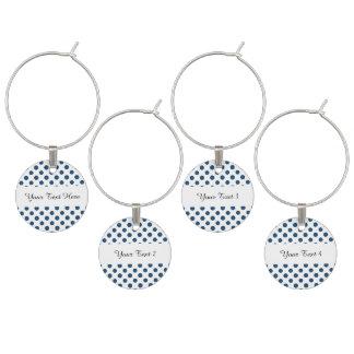 濃紺の白い水玉模様パターン ワインチャーム