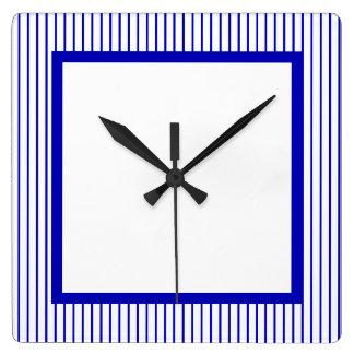濃紺の白い細い縦縞 スクエア壁時計