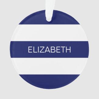 濃紺の白いHorizのプレッピーなストライプ#3のモノグラム オーナメント