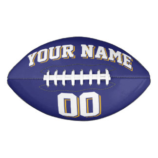 濃紺の白および金ゴールドの習慣のフットボール アメリカンフットボール