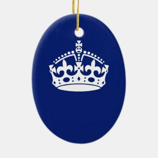濃紺の穏やかな王冠アイコンを保って下さい セラミックオーナメント
