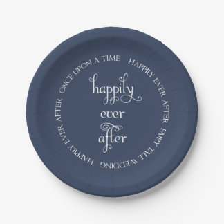濃紺の紙皿を幸福に結婚するおとぎ話 ペーパープレート