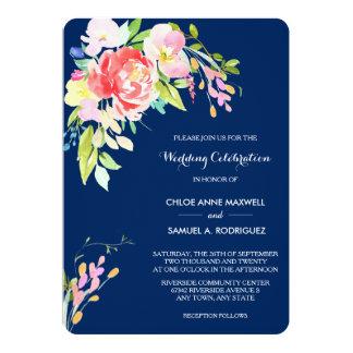 濃紺の結婚式のネコヤナギそして花柄 12.7 X 17.8 インビテーションカード