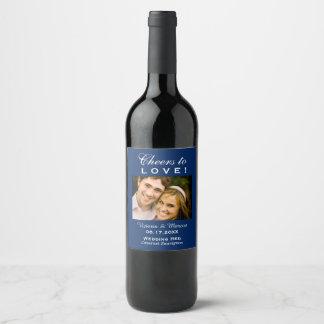 濃紺の結婚式の写真のワイン・ボトルの好意 ワインラベル