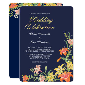 濃紺の結婚式招待状の夏のワスレグサ カード