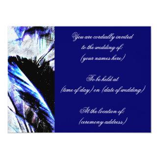 濃紺の羽の結婚式招待状 16.5 X 22.2 インビテーションカード