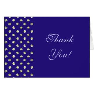 濃紺の背景のデイジーの水玉模様-感謝 カード