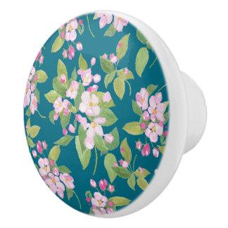 濃紺の背景のピンクのAppleの花の花柄 セラミックノブ