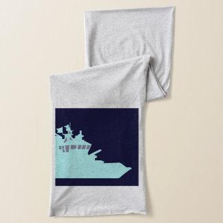 濃紺の背景の水の船 スカーフ