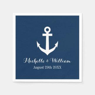 濃紺の航海のないかりのaweigh結婚式のナプキン スタンダードカクテルナプキン