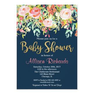 濃紺の花のベビーシャワーの招待 カード