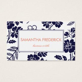 濃紺の花の名刺のテンプレート 名刺