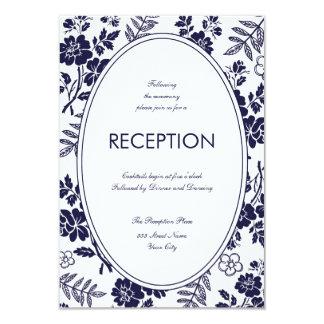 濃紺の花の披露宴カード 8.9 X 12.7 インビテーションカード