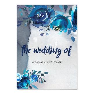 濃紺の花の水彩画の結婚式招待状 カード