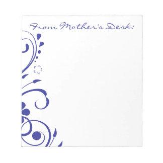 濃紺の花の渦巻の母の日 ノートパッド