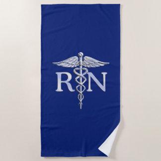 濃紺の装飾の公認看護師RNのケリュケイオン ビーチタオル