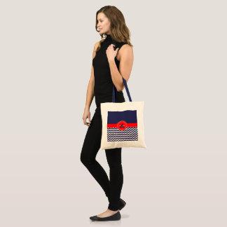 濃紺の赤いシェブロン トートバッグ