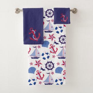 濃紺の赤く航海のなパターン バスタオルセット