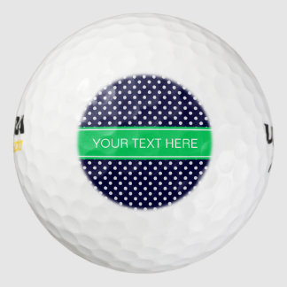 濃紺の重量の水玉模様のエメラルドグリーンの名前のモノグラム ゴルフボール