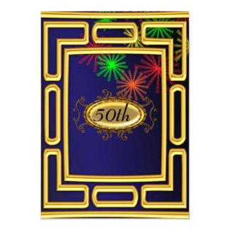 濃紺の金ゴールドフレームの誕生日のパーティの招待状 12.7 X 17.8 インビテーションカード
