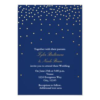 濃紺の金ゴールドホイルはモダンな結婚式招待状に点を打ちます カード