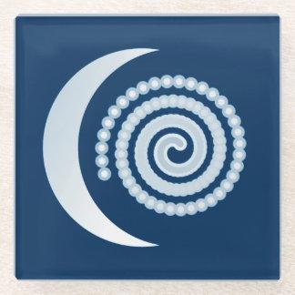 濃紺の銀製の月の螺線形 ガラスコースター