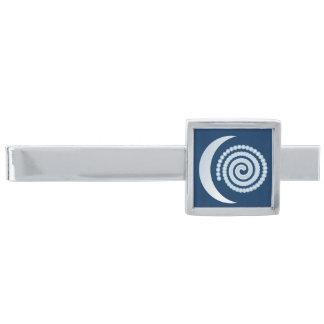 濃紺の銀製の月の螺線形 銀色 ネクタイピン