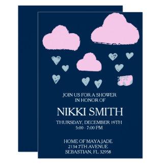 濃紺の雨雲のベビーシャワーの招待 カード