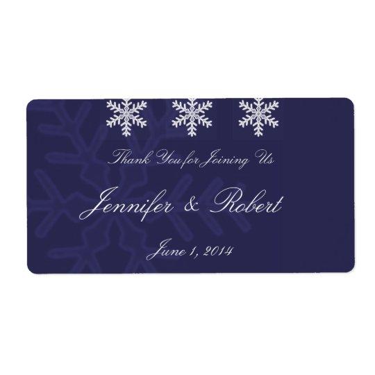 濃紺の雪片の冬の結婚式水ラベル 発送ラベル