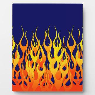 濃紺の鮮やかな競争の炎 フォトプラーク