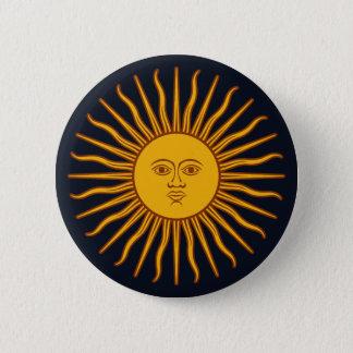 濃紺の黄色い日曜日の記号のスケッチ 缶バッジ