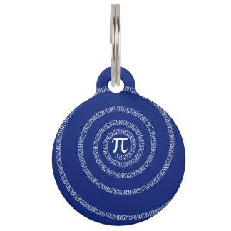 濃紺のPiのための数螺線形 ペット ネームタグ