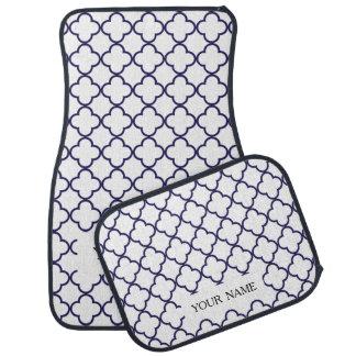 濃紺のQuatrefoilパターン カーマット