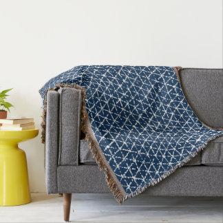 濃紺のShiboriの幾何学的な平面充填 スローブランケット