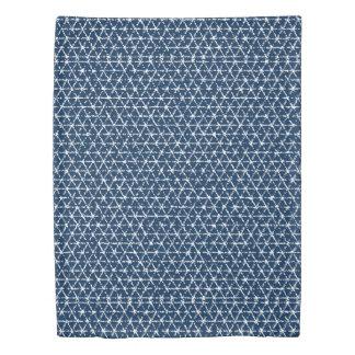 濃紺のShiboriの幾何学的な平面充填 掛け布団カバー