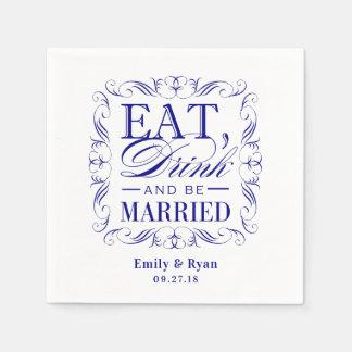 濃紺は飲み物を食べ、結婚したです スタンダードカクテルナプキン