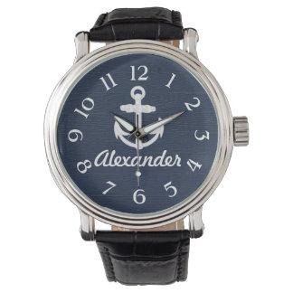 濃紺または白く航海のないかりのカスタムな腕時計 腕時計