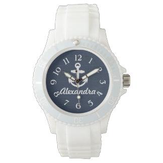 濃紺または白く航海のないかりの名前入りな腕時計 腕時計