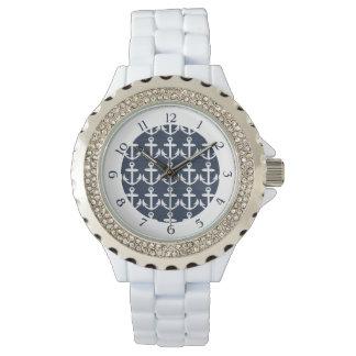 濃紺または白く航海のないかりパターンw/Numbers 腕時計