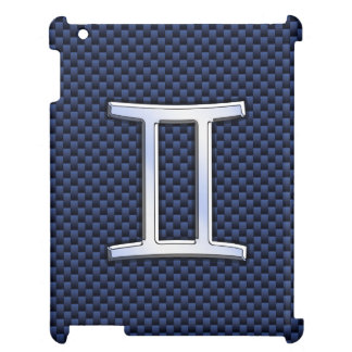 濃紺カーボン繊維のプリントのジェミニ(占星術の)十二宮図の印 iPad カバー
