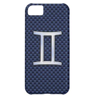 濃紺カーボン繊維のプリントのジェミニ(占星術の)十二宮図の印 iPhone5Cケース