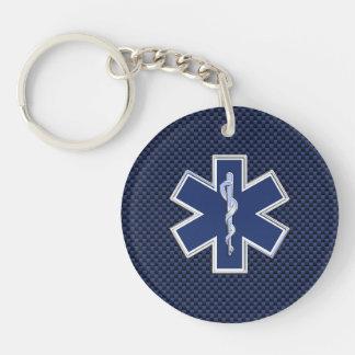 濃紺カーボン繊維の生命救急医療隊員の星 キーホルダー