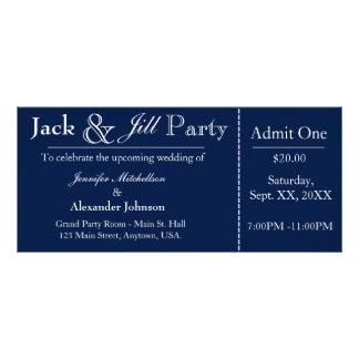 濃紺ジャックおよびジルのシャワーのチケットの招待状 ラックカード
