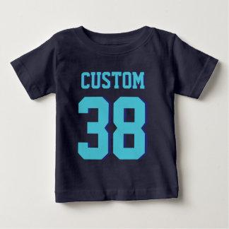 濃紺及びターコイズのベビー|のスポーツのジャージーのデザイン ベビーTシャツ