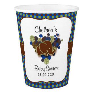 濃紺及びブラウンのベビー象|のベビーシャワー 紙コップ