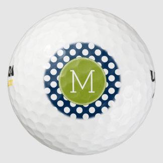 濃紺及びライムグリーンの水玉模様の習慣のモノグラム ゴルフボール